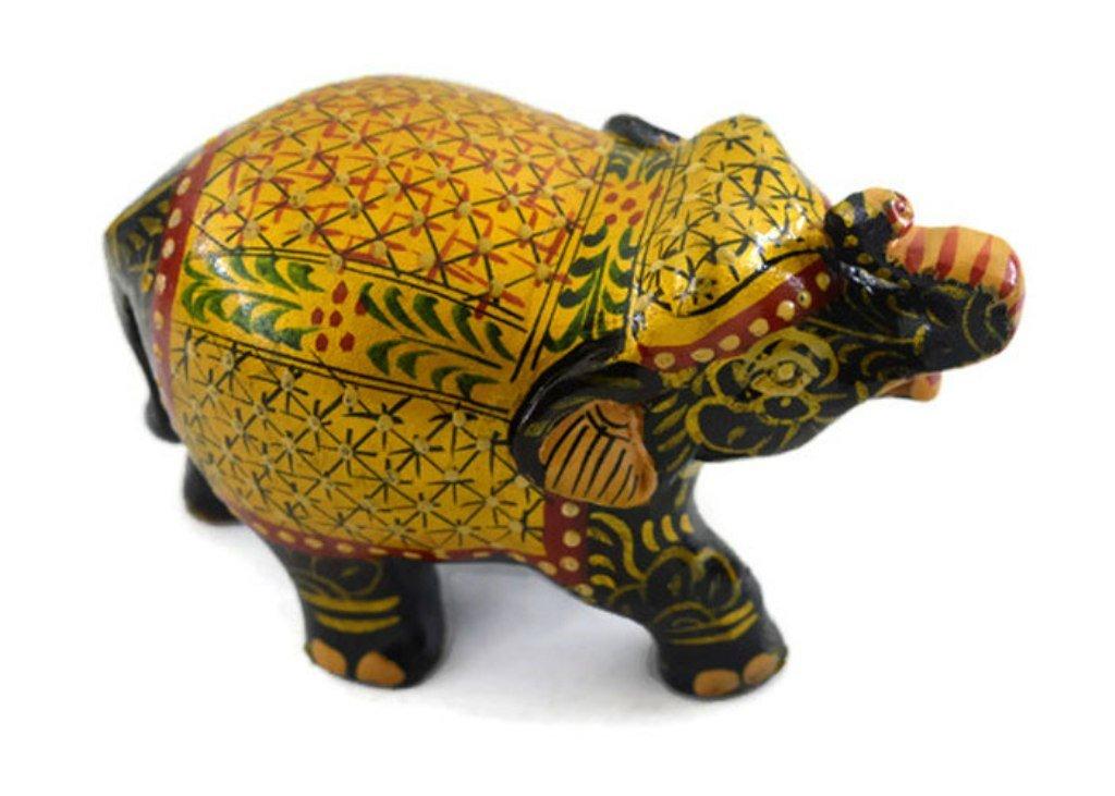 Eurasia Handmade Kadam Wood Small Elephant With Miniature Painting Gold Color 2-12