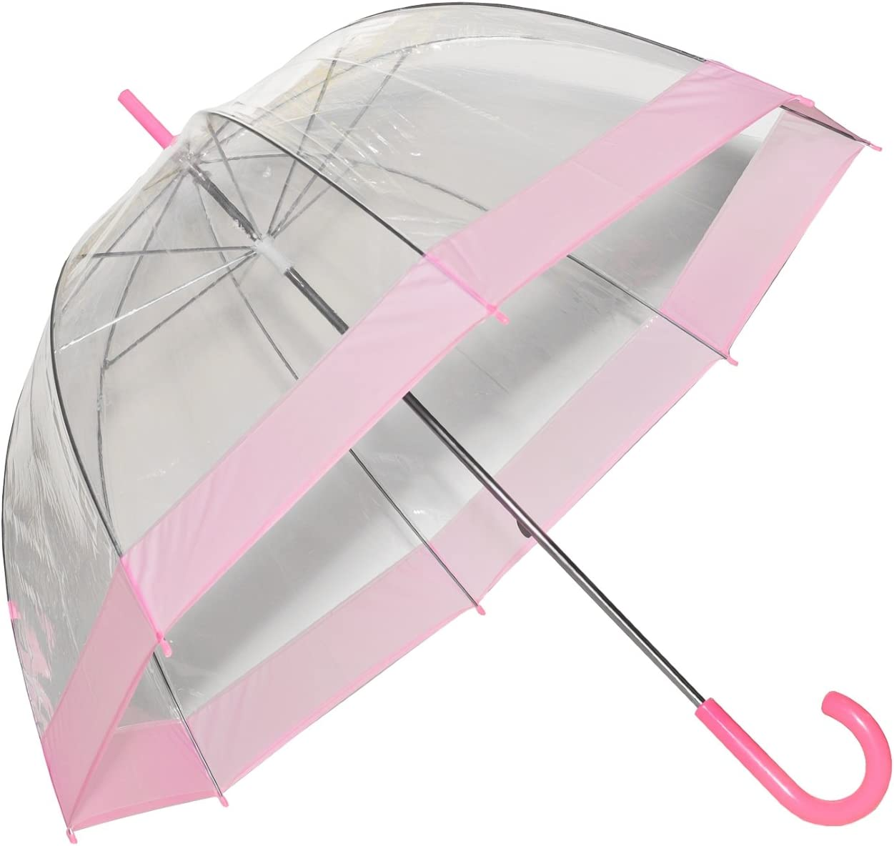 Pink Clear Umbrella with Pink Trim