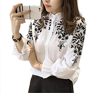 RBDSE Camisa Moda para Mujer Ropa Bordada Blusa Camisa Algodón Flor Coreana Tops Bordados Estilo Coreano