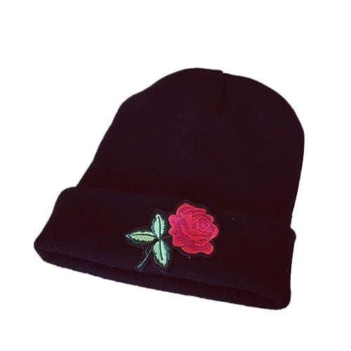 Lenfesh Sombrero Unisex Caliente Beanie Hombres Mujeres Rosas Bordado Gorras Hats