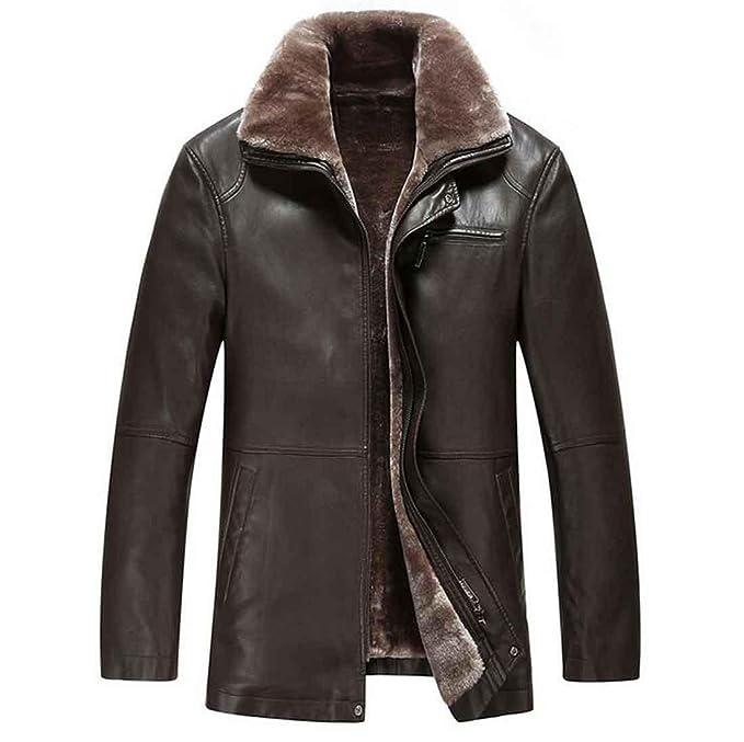 Chaqueta de cuero hombres moda casual de invierno cremallera abrigo de los hombres de piel sintética, brown, m: Amazon.es: Ropa y accesorios
