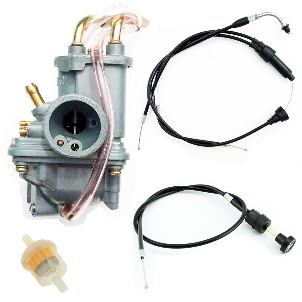 QAZAKY Carburetor + Throttle Cable + Pull Choke Cable for Yamaha PW50 Y-Zinger Dirt Bike Motorcycle 1981-2009 PW 50