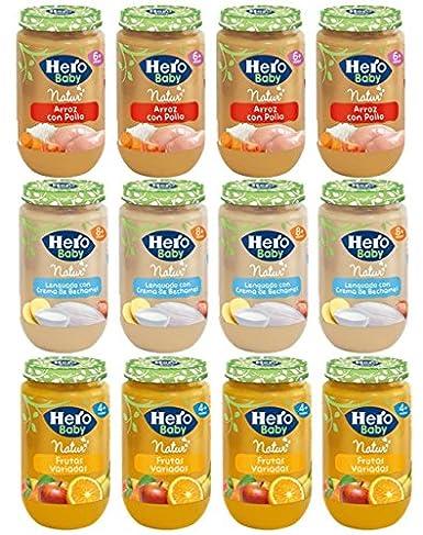 Pack de 12 Hero Baby - 4 uds de Arroz con pollo + 4 uds de ...