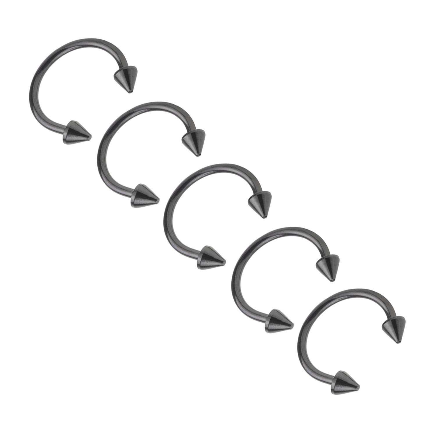 That's Us 3-12PCS 316L Stainless Steel 16G Spike Nose Piercing Septum Lip Nipple Eyebrow Rings Hoop Horseshoe Ear Piercings 8mm
