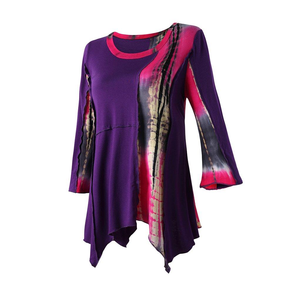 Mujer - Blusa Camiseta - Costuras Multicolor Irregulares - Elegante Estilo