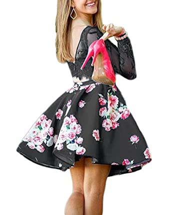 9b4b7d30f843 MarryingHoney Women's Floral Print Prom Dress Short Two Piece Long Sleeve  Formal Evening Gown Size 2