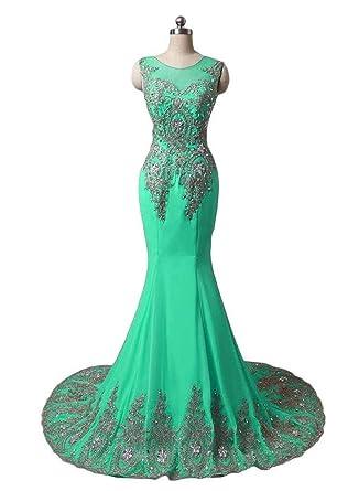 f271bd9b3460 Dydsz Long Evening Party Dresses for Women Formal Weddings Mermaid Beaded  Plus Size D86 Aqua 2
