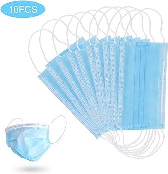 60 PCS M/áscara Desechable M/áscara Anti-contaminaci/ón M/áscara Protectora de Filtraci/ón Multicapa M/áscaras Unisex Boca a Prueba de Polvo 3 Capas Azul