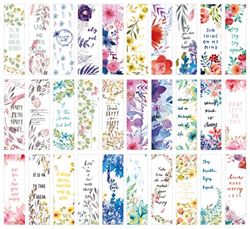 (Flower Poetry Theme Colorful Bookmarks, 30 PCS (Flower Poetry) )