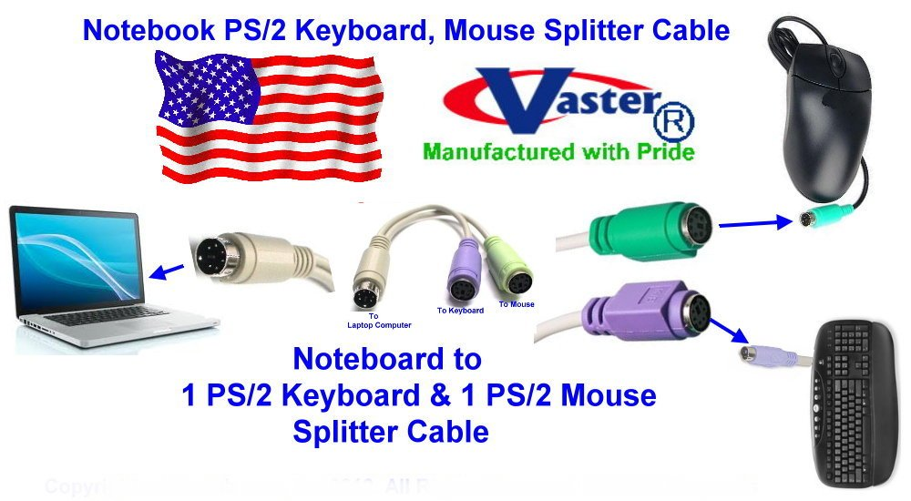 10 PCS / PACK, Notebook PS/2 Keyboard, Mouse Splitter Cable, 6 INCH by Vaster