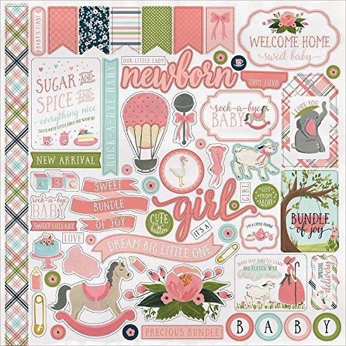 "Echo Park Paper RBG63014 Rock-A-Bye Baby Girl Cardstock Stickers 12""X12"" Hobby & Craft Assortment 10/Pkg"
