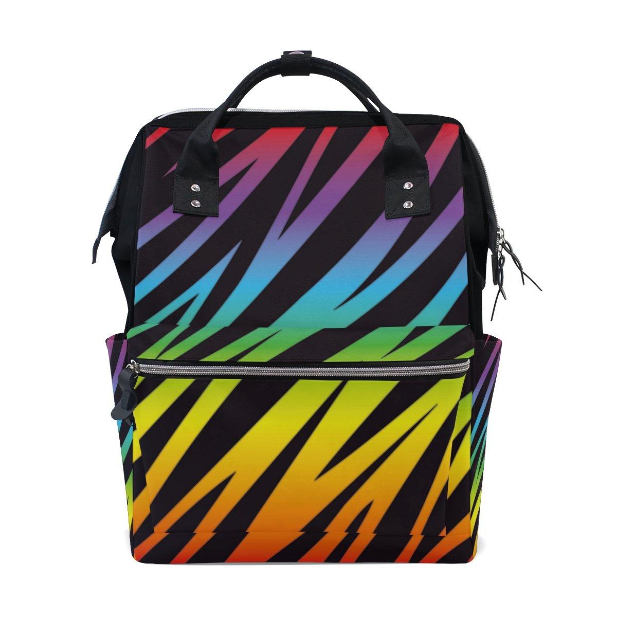 WozoブラックRainbow Zebra印刷多機能おむつバッグバックパック旅行バッグ   B07D6C1F2K