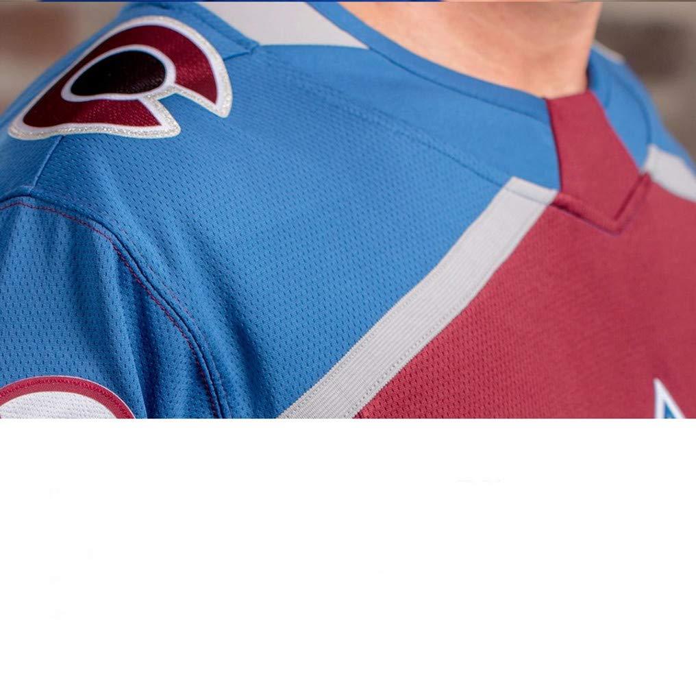 Mens Hockey Jersey Maroon/Strip S-XXXL(Maroon, 3X-Large) by Nikita Zadorov Avalanche Jersey (Image #2)