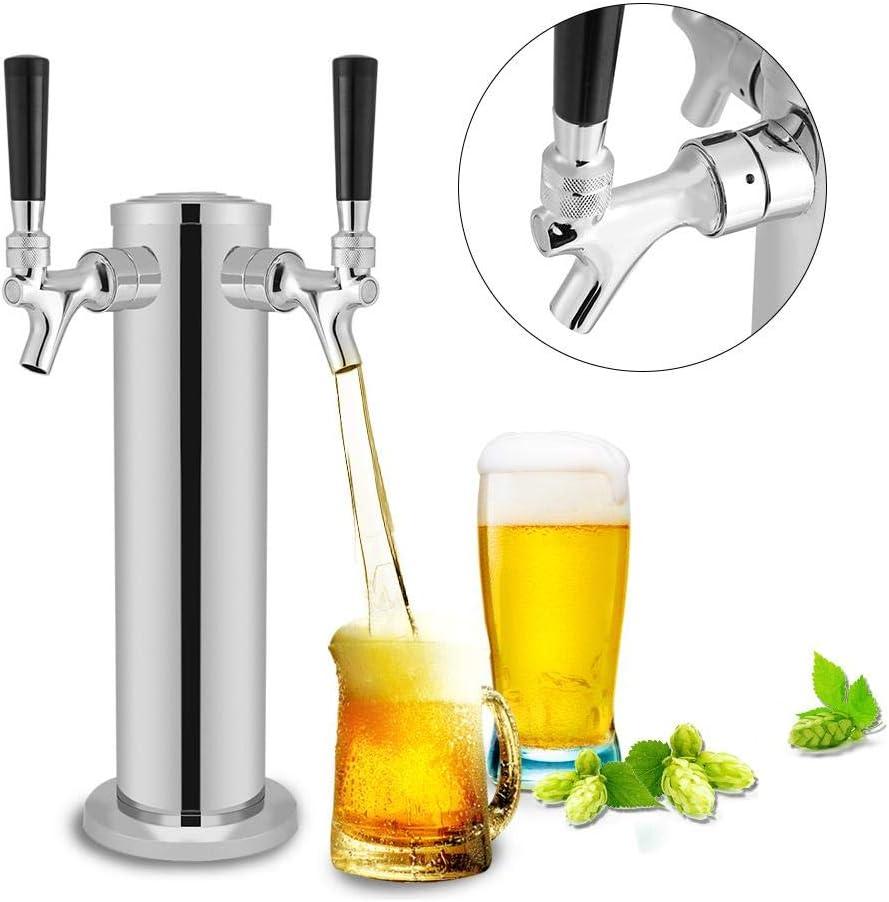 dispensador de cerveza,Torre de cerveza de acero inoxidable com Doble grifos Para dispensar cerveza, vino u otras bebidas