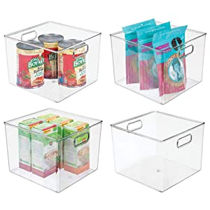 "mDesign Plastic Food Storage Container Bin with Handles - for Kitchen, Pantry, Cabinet, Fridge/Freezer - Large Organizer for Snacks, Produce, Vegetables, Pasta - BPA Free, 10"" Square, 4 Pack - Clear"