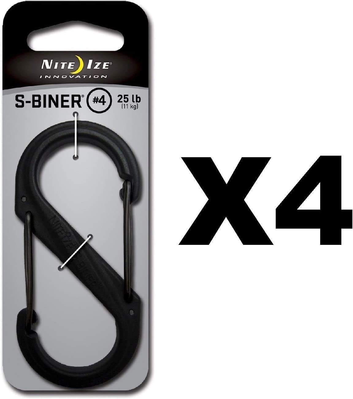 Nite Ize S-Biner Stainless Steel #4 Brushed Dual-Gated Carabiner 75lb 3-Pack