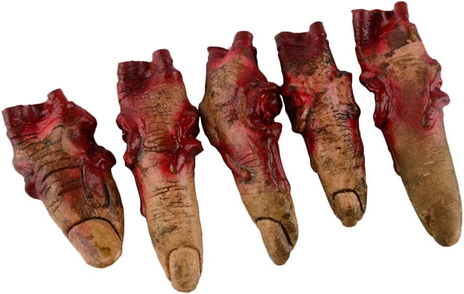 IronBuddy Bloody Fake Fingers Realistic Severed Fingers Horror Scary Prank Toys Fingers Props, Halloween Decorations Props, 5 Fingers (No Rope)