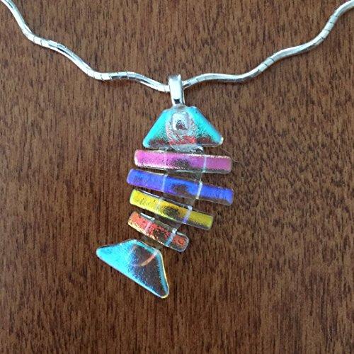 Dichroic Design - Dichroic Fused Glass Medium Bonefish Pendant
