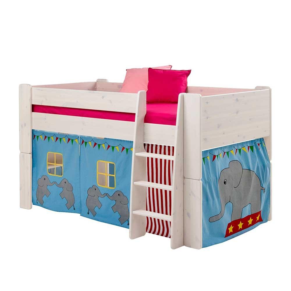 Pharao24 Halbhochbett mit Vorhang im Elefanten Design Weiß