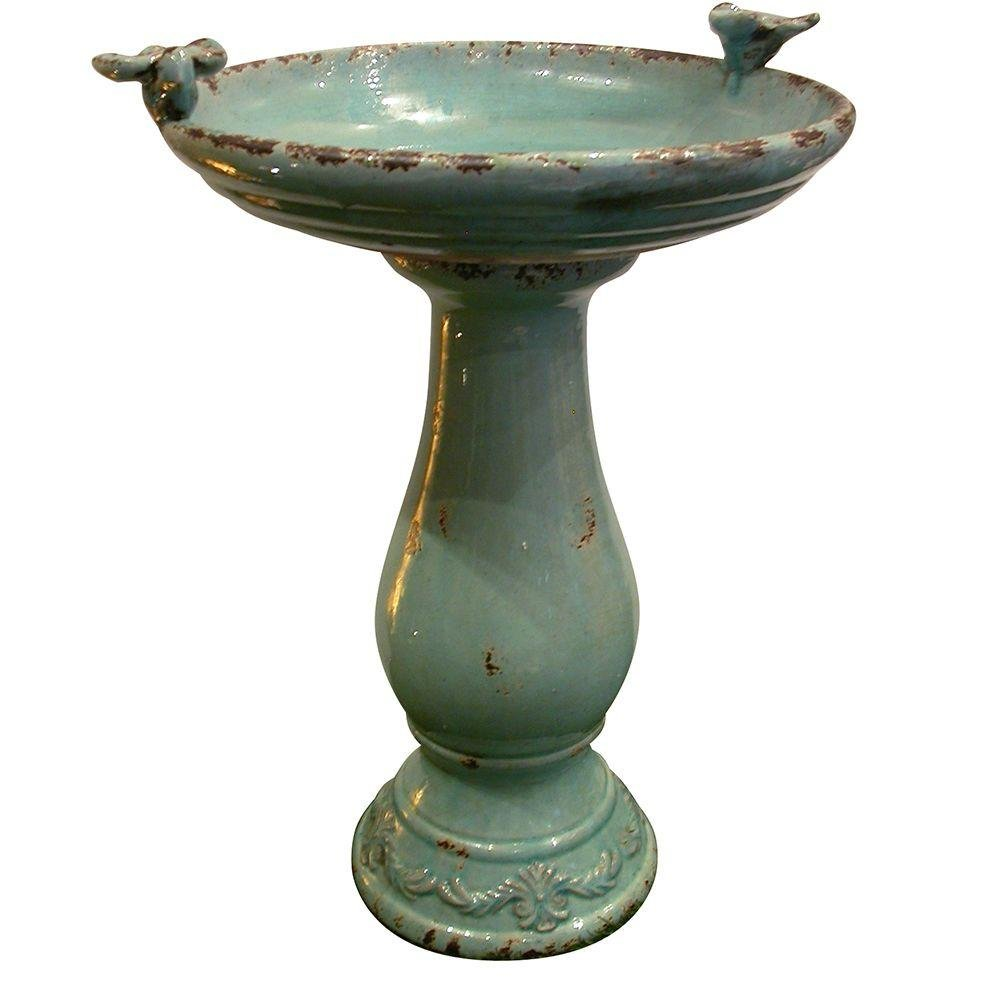 Alpine 25 in. Turquoise Antique Ceramic 101 oz. Water Capacity, Weather-resistant, Birdbath- slightly weathered appearance creates a simple, rustic look