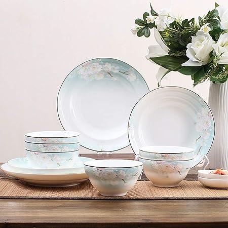 Cubiertos conjunto flor de melocotón borde 18 plato plato conjunto ...