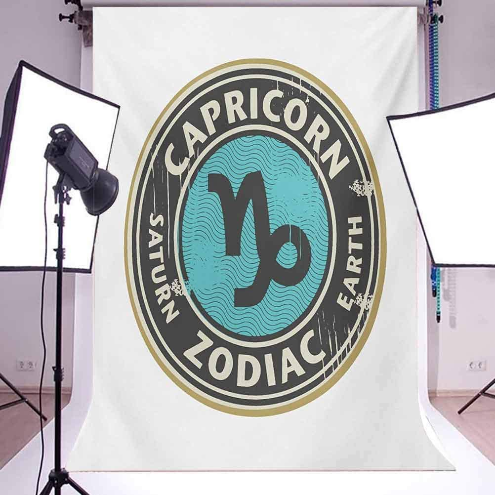 Zodiac Capricorn 8x10 FT Backdrop Photographers,Grunge Astrology Elements Saturn and Earth Lettering with Sign Background for Baby Shower Birthday Wedding Bridal Shower Party Decoration Photo Studio