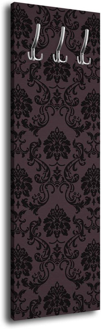 40 x 125 cm Appendiabiti da parete con motivo barocco Wandmotiv24 G351 colore: Nero