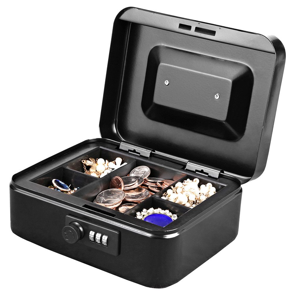 Jssmst Small Cash Box with Combination Lock – Durable Metal Cash Box with Money Tray Black,7.87 x 6.3 x 3.35 inches, CB0701M by Jssmst (Image #8)