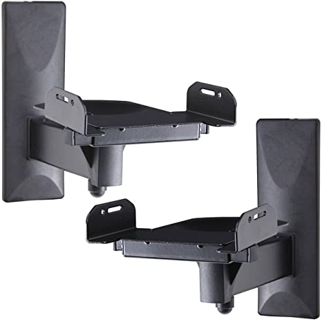 VideoSecu One Pair Of Side Clamping Bookshelf Speaker Mounting Bracket With Swivel And Tilt For Large