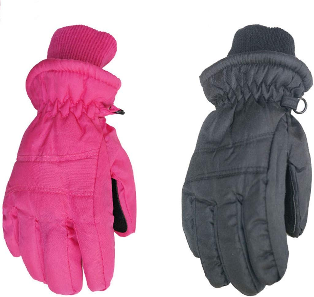 Toddler Waterproof Ski Snowboard Snow Gloves Breathable Thinsulate Lined Cold Weather Mittens Non Slip Outdoor Recreation Mitts for 1-3 Years Old Kids FunDiscount Kids Boy Girl Winter Gloves Black