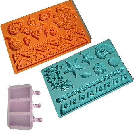 2 moldes para fondant para tartas, molde de silicona para ...