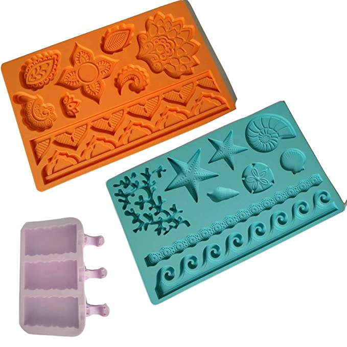 Amazon.com: 2 Pcs Cake Fondant Molds, Silicone Mold For Fondant, Lace Border Decorative Embossing Impression Mold Baroque Tools For Chocolate Sugarcraft ...