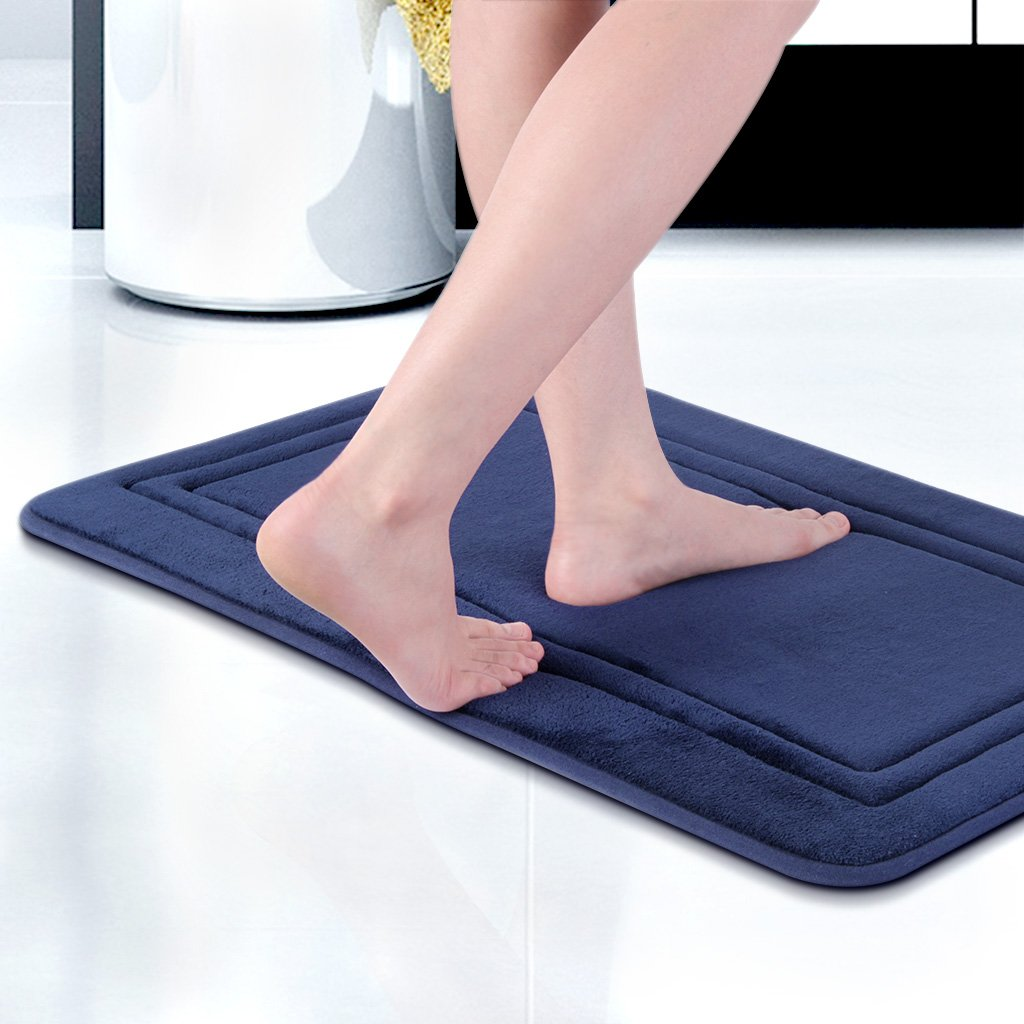 LANGRIA 20'' x 32'' Memory Foam Bath Mats Non-Slip Bathroom Rugs Water Absorbent Fast Dry Soft Comfortable Stylish Coral Fleece Surface (Navy, 1 Piece)