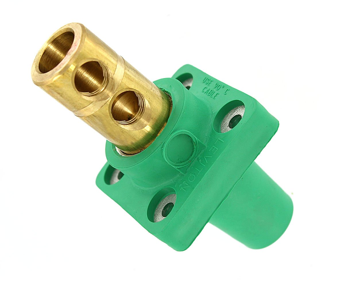 Leviton 16R22-G 16-Series Taper Nose, 90-Degree, Female Panel Receptacle, Cam-Type Connector, Green (Old Model)