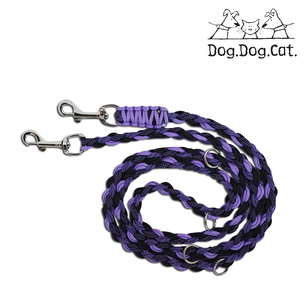 Para cord double ended Versatile hands-free dog walking or training leash (6 foot adjustable, Purple Reflective)