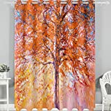 Naanle 2 Oil Painting Red Tree Vintage Modern Art Image,110 x 84 inch Thermal Insulated Darkening Bedroom Curtain House Panels for Glass Sliding Doors (Coral)