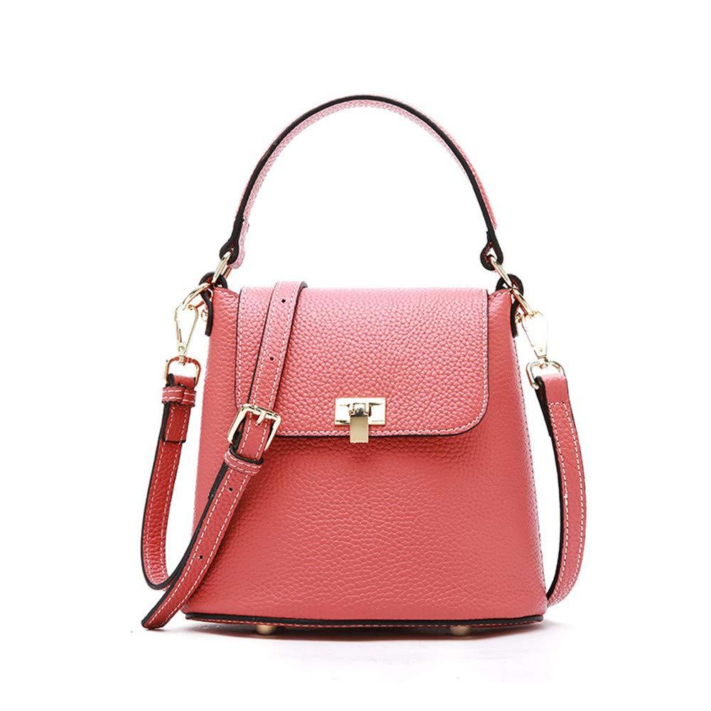 婦人用バッグ本物 レザーハンドバッグファッショントレンドビーチバッグメッセンジャーバッグ野生のバケツバッグファッション (色 : ピンク) B07PQHHNXF ピンク