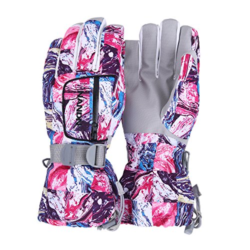 UNISTRENGH Ski Gloves Winter Warmest Waterproof and Breathable Snow Gloves for Mens,Womens,Ladies Skiing,Snowboarding (White Graffiti, L)