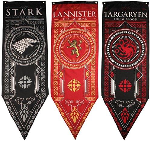 Game of Thrones House Banner 3pk, House Stark, Targaryen, Lannister ()