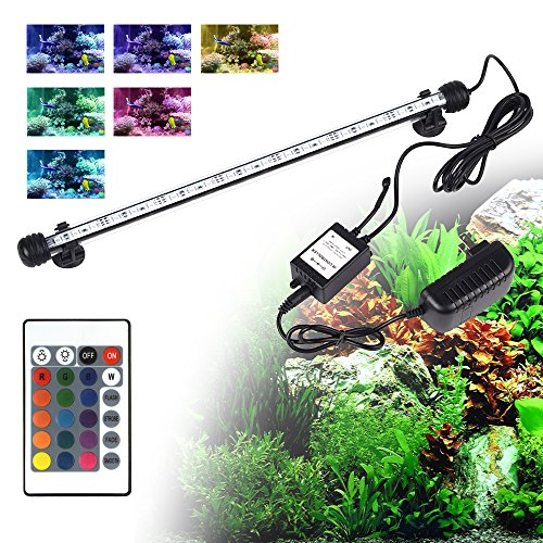LED Aquarium Light, Smiful Fish Tank Light Submersible Underwater Crystal Glass LEDs Lights 15 Inches (15-Colorful)