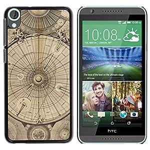Be Good Phone Accessory // Dura Cáscara cubierta Protectora Caso Carcasa Funda de Protección para HTC Desire 820 // Engineering Drawing Parchment