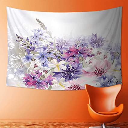 Amazoncom L Qn Print Decorative Throw Fabric Tapestry Wall Hanging - Decorative-floral-print-chairs-from-floral-art