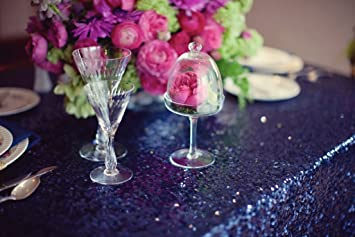 Navy Sequin Tablecloth We Do Custom Orders(48in Round)