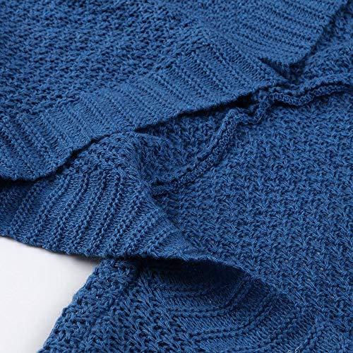 Casual Tops De Loose Moda Capucha Manga Punto Fit Invierno Color Vjgoal Con Chaqueta Azul Mujer Sólido Larga ZHqwCqUt