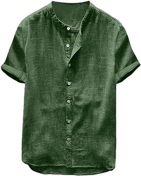CHENS Camisa/Casual/Unisex/XXL Camisa de Lino de Verano, Camisas de Manga Corta para Hombre, Color sólido, Manga Corta, Camisas Retro, Blusas: Amazon.es: Deportes y aire libre