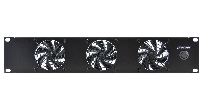 PROCOOL SX380 / 2U Silent Rack Mount Fan/Airflow = INTAKE/Home Theater AV Cabinet Cooling Broadcast Network Server Recording Studio Rack Mount Fan Panel 19''