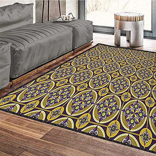 - Vintage Modern Geometric Area Rug,Mosaic Tile Pattern with Violet Flowers Motifs and Squares Old Fashioned Oriental Suitable for Bedroom Home Decor Multicolor 79