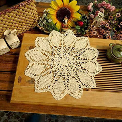 "TideTex Handmade Beige Round Crochet Cotton Lace Table Placemats Doilies Set Vintage Floral Dinner Cloth Cup/Glass Mats Table Decoration Mat Value Pack 4PC (14""x14"", beige)"