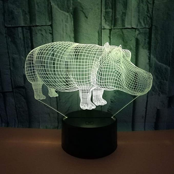 BFMBCHDJ Creative Hippo 3D Night Light Colorful Usb Three ...