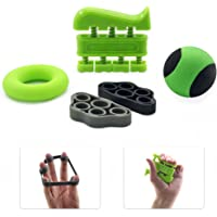 GR Hand Grip Strengthener Forearm Grip Finger Exercise Set - Finger Stretcher and Hand Grip Strengthener - Hand Strength Trainer for Rehabilitation, General Fitness & All Musicians & Sportspeople